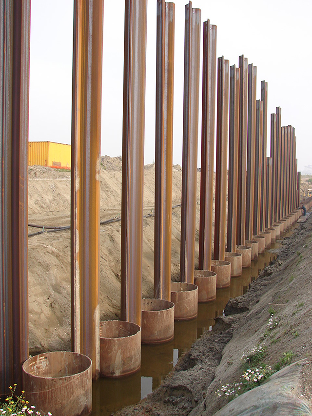 ICE,PC功法,基坑围护,钢管桩和钢板桩组合,安装方法
