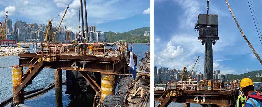 815C 拔取香港将军澳水下9米钢管桩